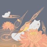 Chat de chrysanthème d'abeille-mangeur d'oiseau Images stock