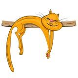 Chat de dessin animé dormant et rêvant l'illustration Photo stock