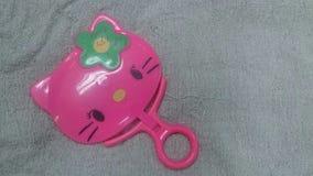 Chat de Kitty sur le fond en soie Photographie stock