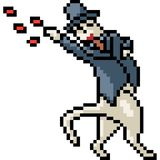 Chat de magicien d'art de pixel de vecteur illustration libre de droits
