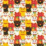 Chat de Maneki-neko Modèle sans couture avec les chats chanceux tirés par la main se reposants Culture japonaise Dessin de griffo illustration stock