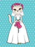 Chat de mode dans la robe de mariage blanche Images stock