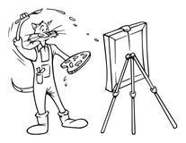 Chat de peintre Photographie stock libre de droits