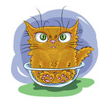 Chat de rouge d'animaux d'art Images libres de droits