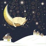 Chat de sommeil sur la lune Photos libres de droits