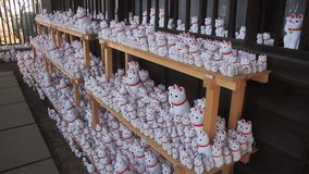 Chat de statue chez Gotokuji à Tokyo banque de vidéos
