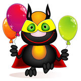 Chat de Superhero avec des ballons Photo stock