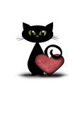 Chat de Valentine avec le coeur rouge Image libre de droits