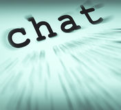Chat Definition Displays Online Communication Or Text Talking Stock Photo