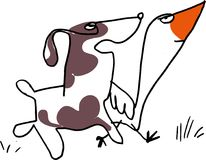 Chat and discuss. Two friends are chatting. Ducks and dogs walk. Chat and discuss. Talking animals royalty free illustration