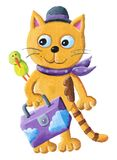 Chat drôle et oiseau vert avec la valise Photo libre de droits