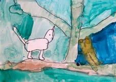 Chat drôle marchant dans l'art puéril de dessin de forêt illustration libre de droits