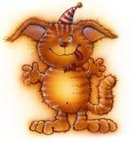 Chat drôle rouge en vacances avec un lien et un chapeau Image libre de droits