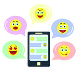Chat with emoticons Stock Photos