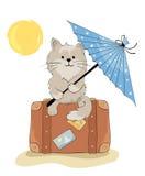Chat en vacances illustration de vecteur