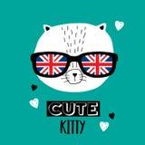 Chat en verres avec le drapeau britannique illustration de vecteur