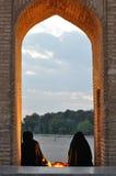 Muslim womans on Esfahan Si-o Seh bridge Stock Photos