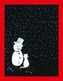 Chat et bonhomme de neige Photos libres de droits