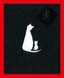Chat et chaton de Noël Photo libre de droits