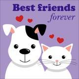 Chat et crabot mignons Meilleurs amis Illustration de vecteur illustration stock