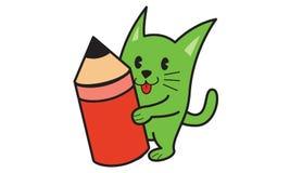 Chat et crayon Photos stock