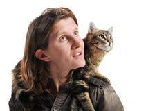 Chat et femme norvégiens Photographie stock libre de droits