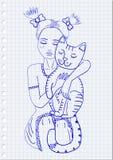 Chat et fille Photographie stock libre de droits