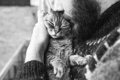 Chat et homme, portrait de chat heureux avec les yeux étroits et jeune homme Photo libre de droits