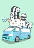 Chat et pandas géants mignons dans le fourgon bleu illustration libre de droits