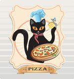 Chat et pizza Photographie stock libre de droits