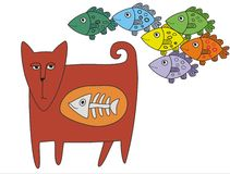 Chat et poissons illustration de vecteur