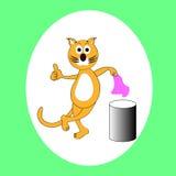 Chat et poubelle Image stock