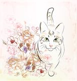 Chat et roses illustration stock