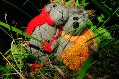 Chat et souris de deux jouets, fabriqués à la main Images libres de droits