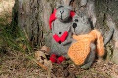 Chat et souris de deux jouets, fabriqués à la main Photographie stock