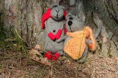 Chat et souris de deux jouets, fabriqués à la main Photos stock