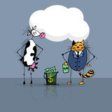 Chat et vache d'affaire d'affaires Images stock