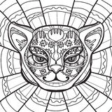Chat ethnique Cat Head Illustration tirée par la main dans le style de zentangle - dirigez l'illustration Illustration Libre de Droits
