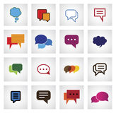 Chat flat icon in different colors, shapes, sizes - vector icons. This graphic illustration also represents online talk, speech bubbles, community interaction Royalty Free Stock Images