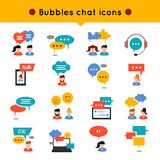Chat Flat Icon Set. People who communicate, and over their heads different types of bubbles vector illustration stock illustration