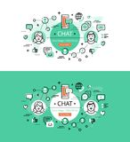Chat. Flat line color hero images and hero banners design concep Royalty Free Stock Photos