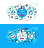 Chat. Flat line color hero images and hero banners design concept vector illustration