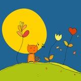 Chat, fleurs, lune Photographie stock libre de droits