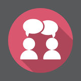 Chat, forum flat icon. Round colorful button, circular vector sign with long shadow effect. royalty free illustration