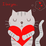 Chat gris affectueux Image libre de droits