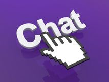 Chat and hand cursor or pointer. A large, 3D word Chat and a large cursor or pointer hovering over it Royalty Free Stock Image