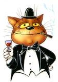 Chat heureux, un monsieur avec de l'alcool Photographie stock