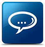 Chat icon blue square button Stock Photography