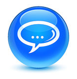 Chat icon glassy cyan blue round button Royalty Free Stock Photography