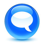 Chat icon glassy cyan blue round button Stock Image